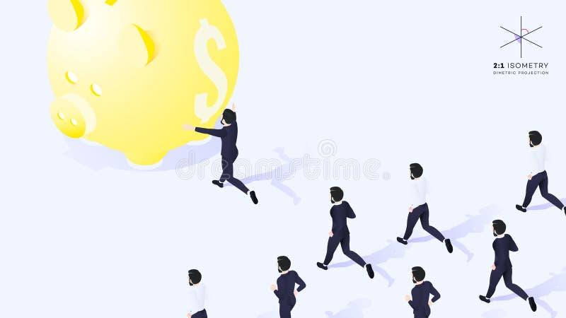 3d hombre de negocios Run Ahead del equipo Él corre para amarillear Moneybox ilustración del vector