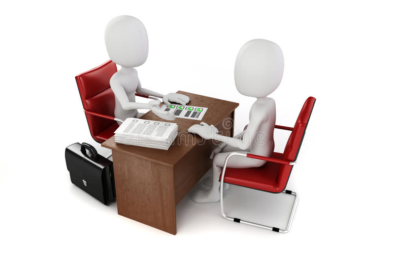 3d hombre, reunión de negocios, entrevista de trabajo stock de ilustración