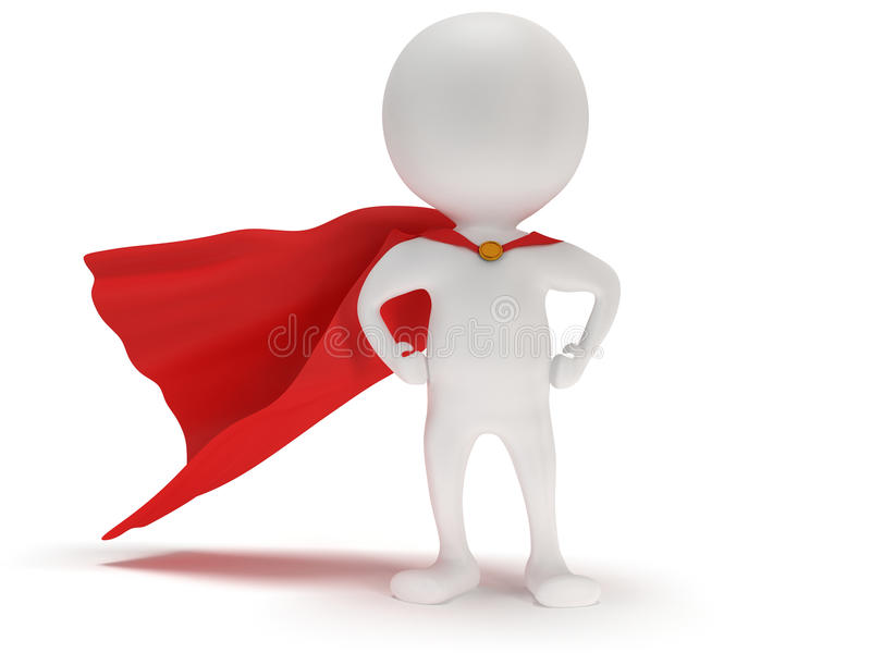 3d hombre - super héroe valiente con la capa roja ilustración del vector