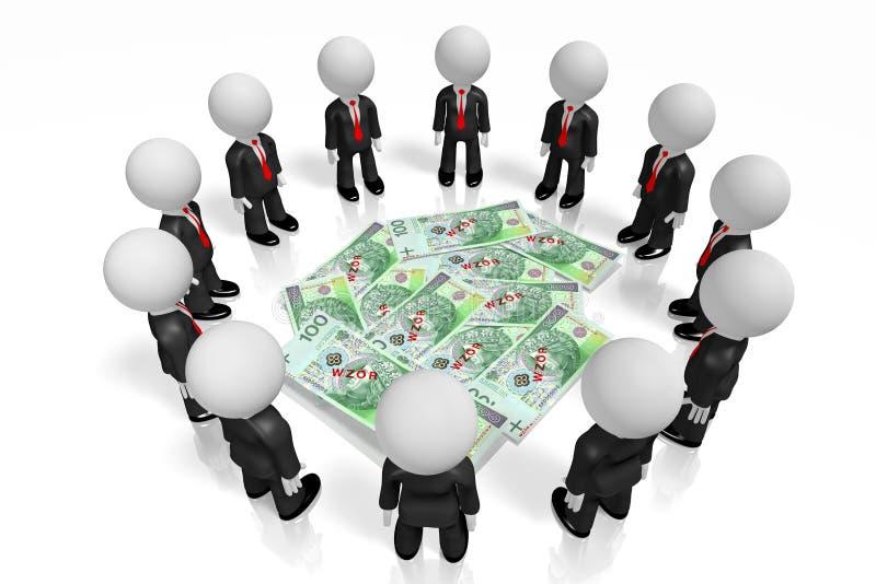 3D hombres de negocios, dinero polaco stock de ilustración