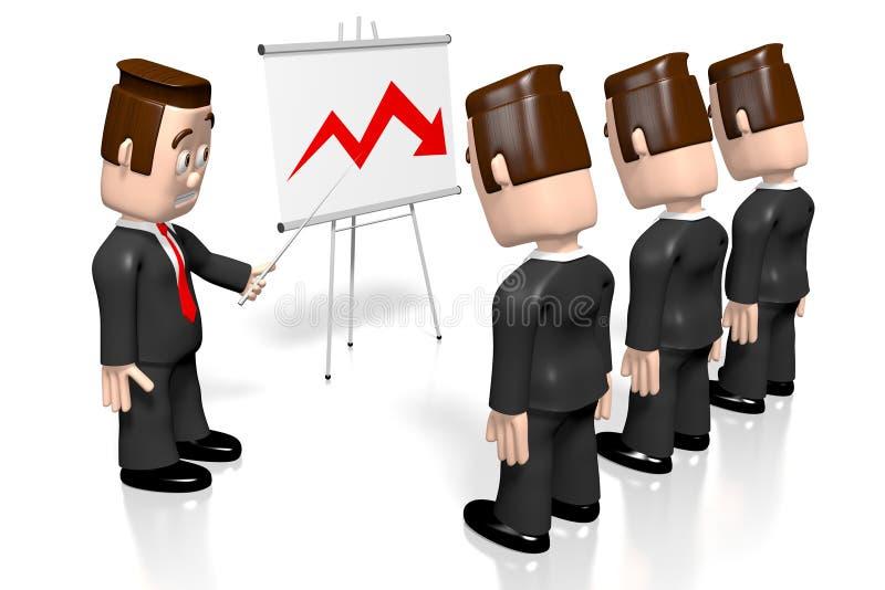 3D hombres de negocios, tablero de la presentación - carta de la crisis stock de ilustración