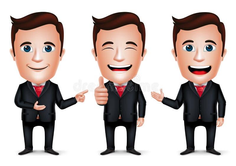 3D homem de negócios realístico Cartoon Character com pose diferente ilustração stock