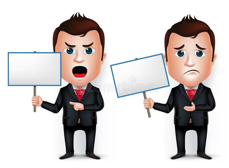 3D homem de negócios realístico Cartoon Character Teaching ou guardar ilustração stock
