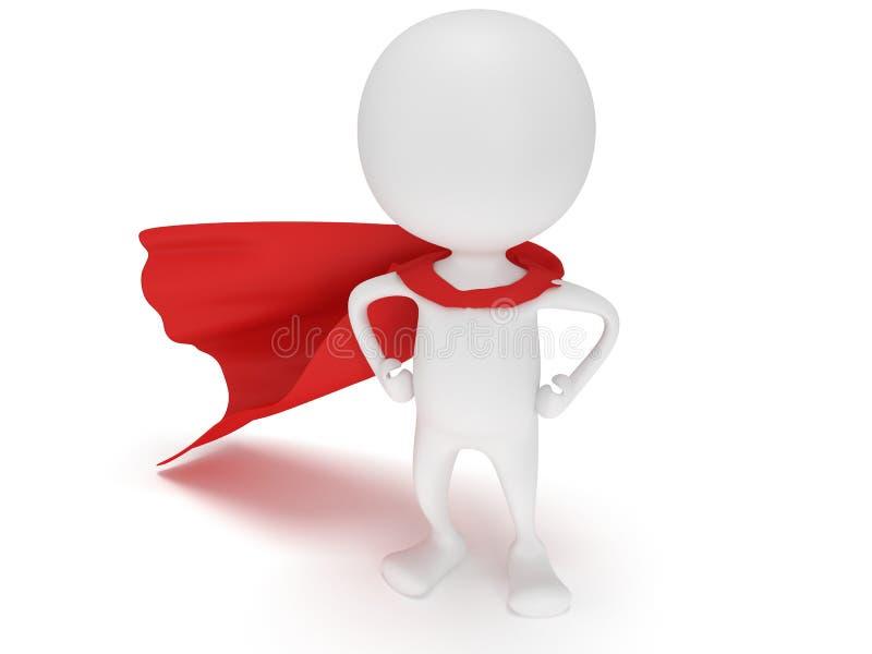 3d homem - super-herói corajoso com casaco vermelho ilustração stock
