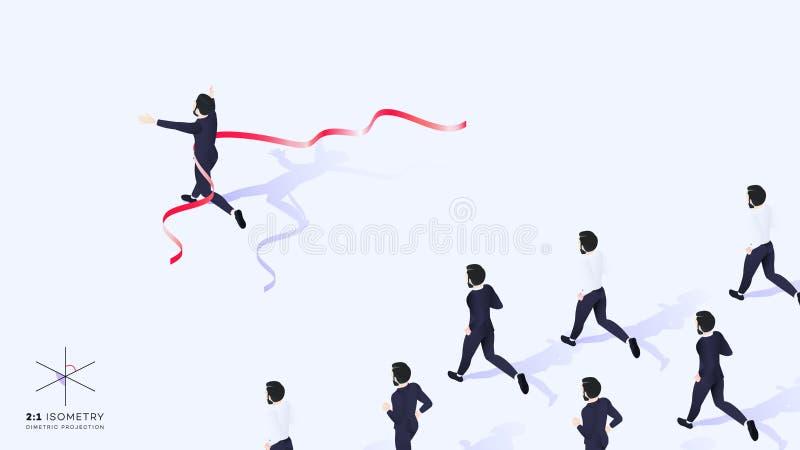 3d homme d'affaires Run Ahead de l'équipe Il croise la ligne d'arrivée ruban rouge illustration libre de droits