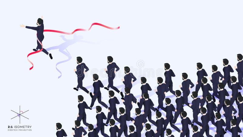 3d homme d'affaires Run Ahead de l'équipe Il croise la ligne d'arrivée ruban rouge illustration stock