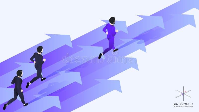 3d homme d'affaires Run Ahead de l'équipe Illustration isométrique conceptuelle de vecteur de direction illustration libre de droits