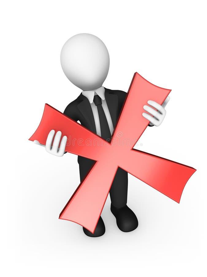 3d homme d'affaires un symbole négatif croix rouge entre les mains illustration de vecteur