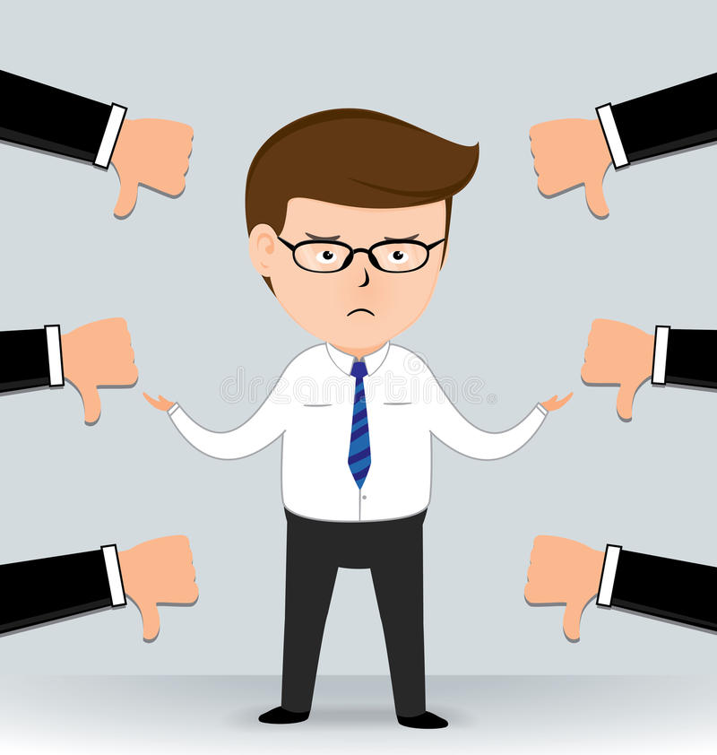 D'homme d'affaires de Thumbs mains vers le bas illustration libre de droits