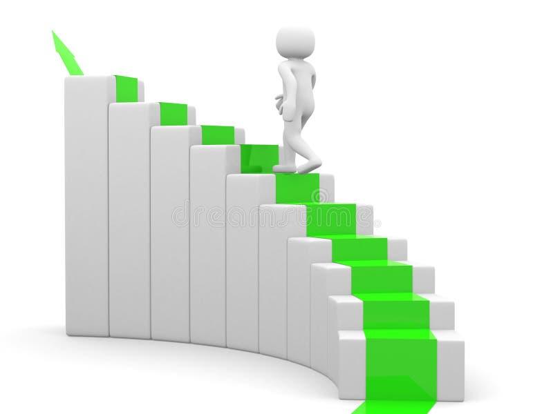 3d homme - les gens montez l'escalier - escalier illustration libre de droits