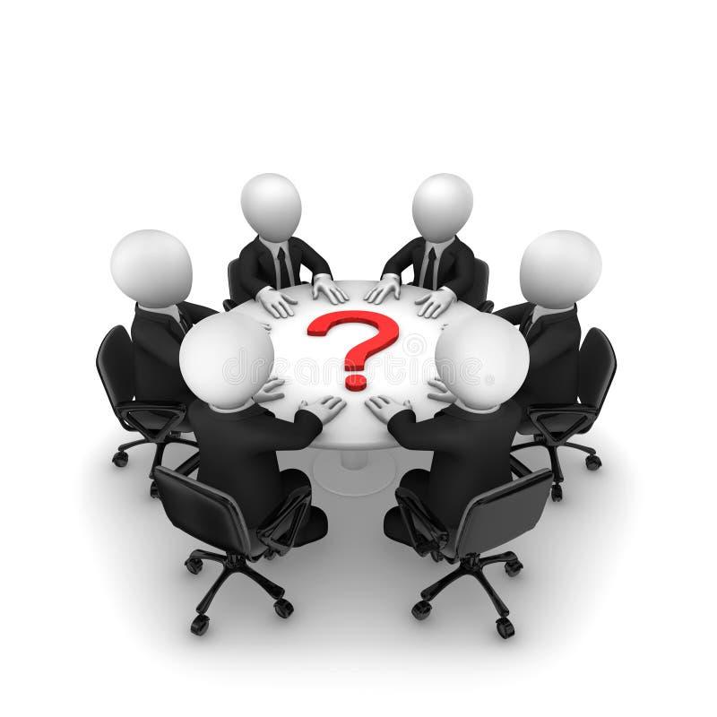 3d hommes d'affaires avec puzzle et point d'interrogation rouge illustration libre de droits