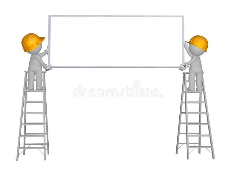 3d hommes du caractère 2 vers le haut d'échelle avec le signe vide portant le casque de sécurité jaune illustration stock
