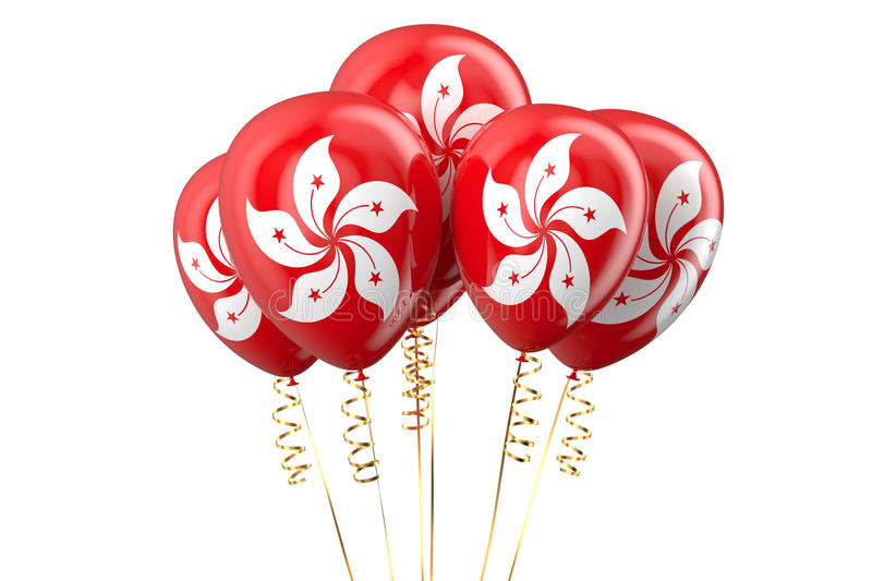 3D Hong Kong patriotic balloons, holyday concept. 3D Hong Kong patriotic balloons vector illustration