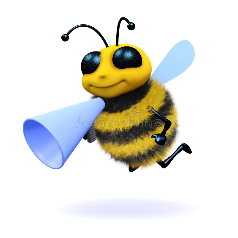 3d Honingbij met een megafoon stock illustratie