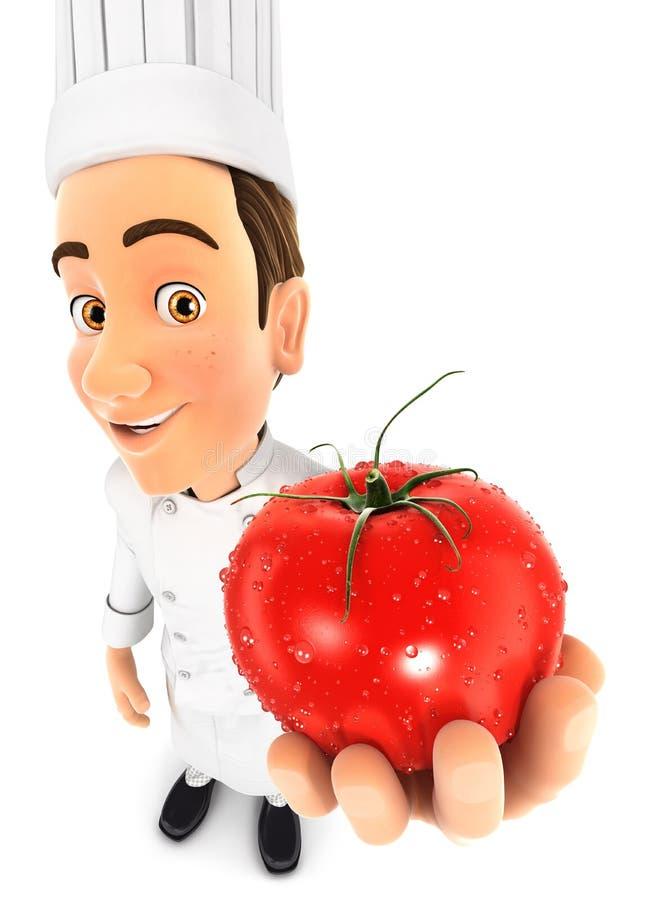 3d hoofdchef-kok die een verse tomaat houden vector illustratie