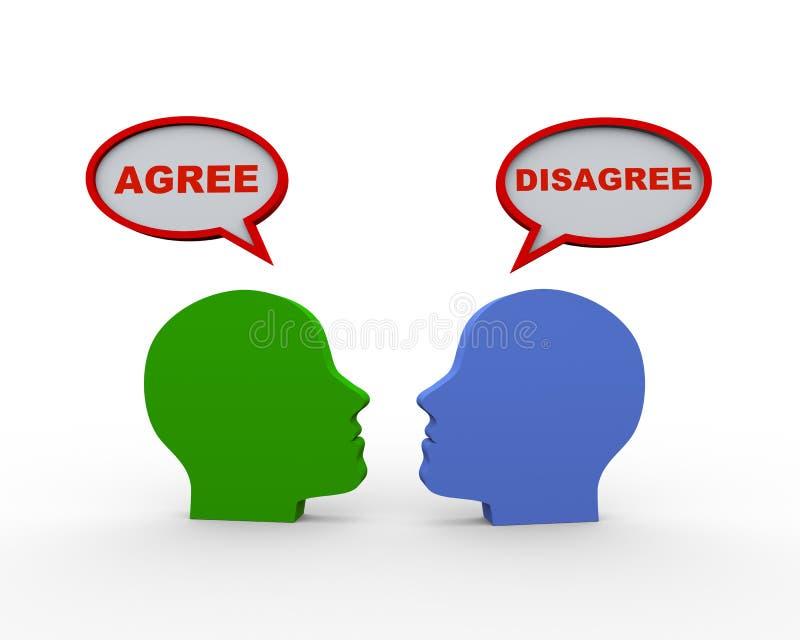 3d hoofden met gaan akkoord toespraakbel niet akkoord ga royalty-vrije illustratie