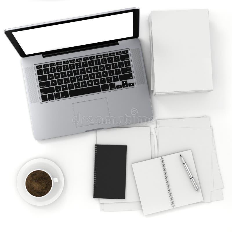 3d hoogste mening van een bureau met laptop en documenten royalty-vrije illustratie