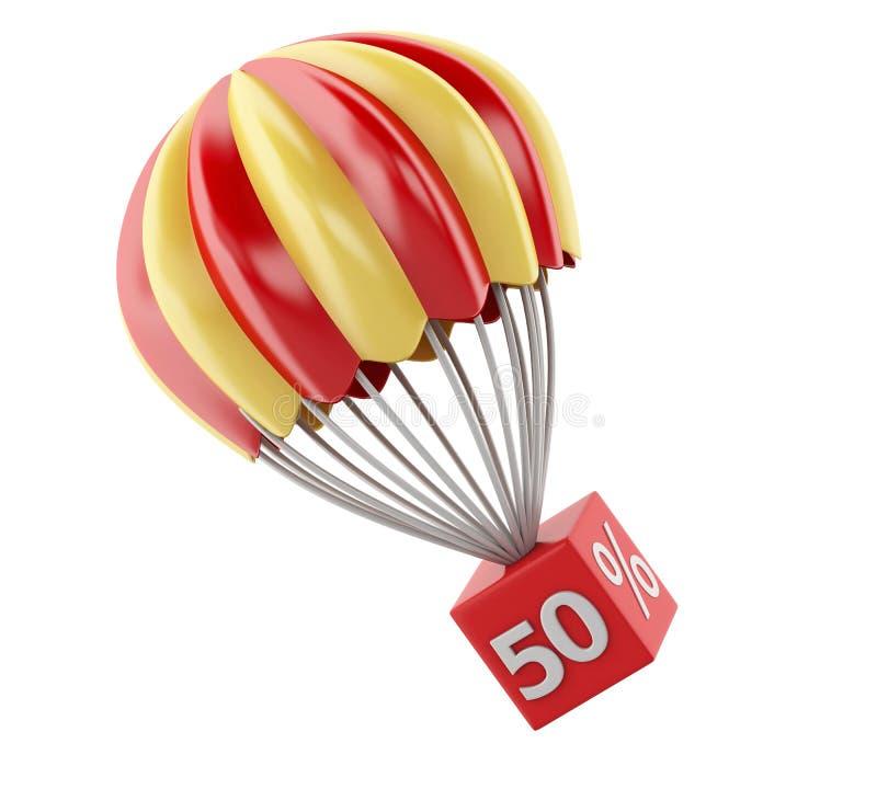 3d hoppa fallskärm med rabatttecknet försäljning för glass hand för begrepp förstorande royaltyfri illustrationer