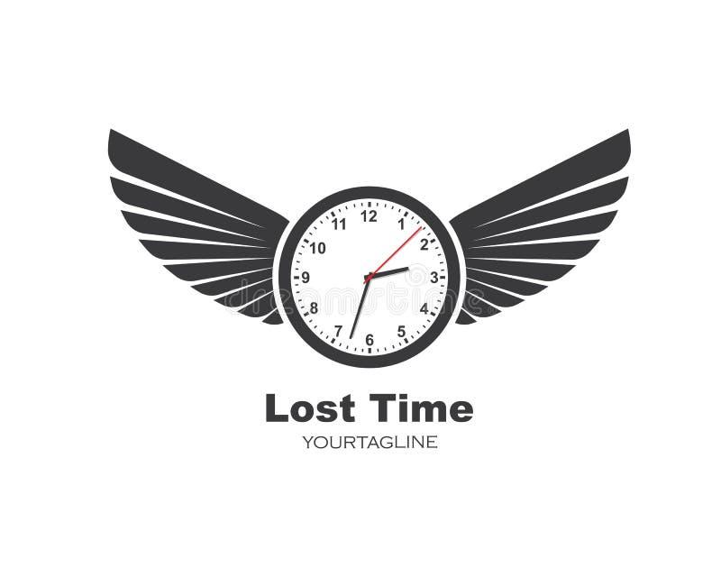 D'horloge et d'ailes de logo d'icône de temps vecteur de conception d'illustration  illustration stock