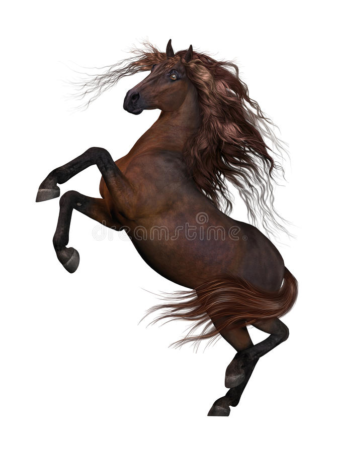 3D horse rising up stock illustration