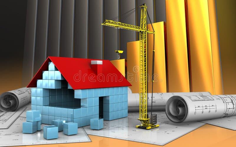 3d of house blocks construction vector illustration