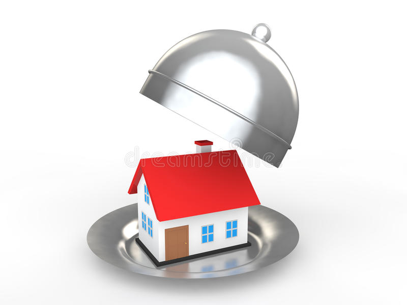 3d house in a dish stock photos