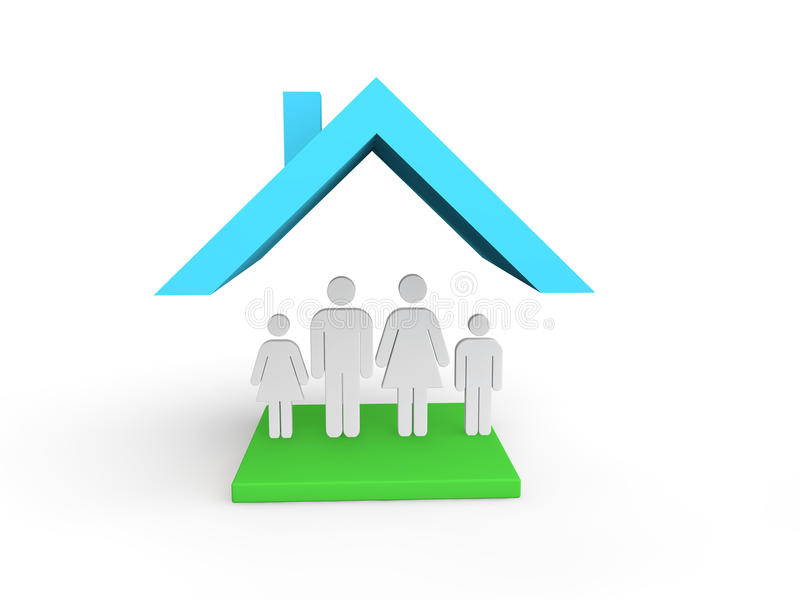 3d house with family vector illustration