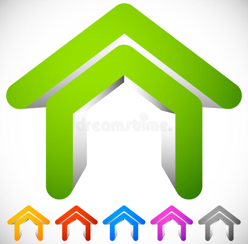 3D house icon in six colors. Home, suburban house, residential b royalty free illustration