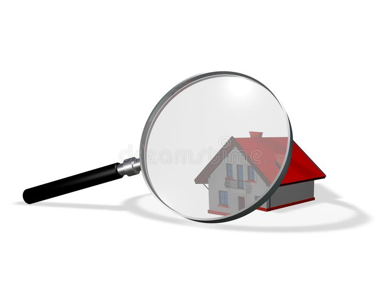 3d house magnified with magnifying glass. royalty free illustration