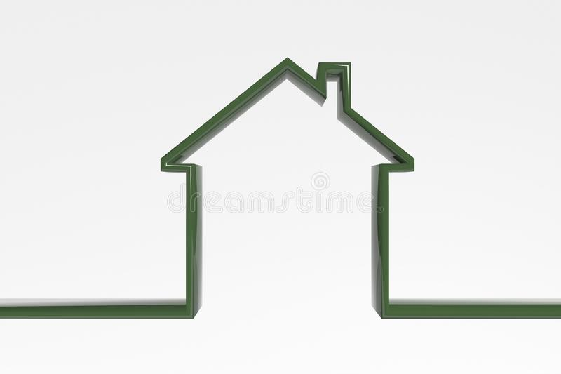 3D house outline. Green efficient house icon. symbol of a house royalty free stock photos