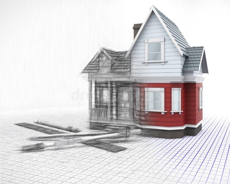 3D houthuis op een net met tekeningsinstrumenten met binnen de helft royalty-vrije illustratie