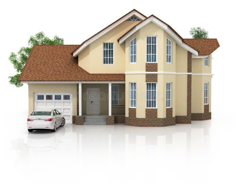 3d huis dat op wit gemaakt wordt geïsoleerd? generisch stock illustratie