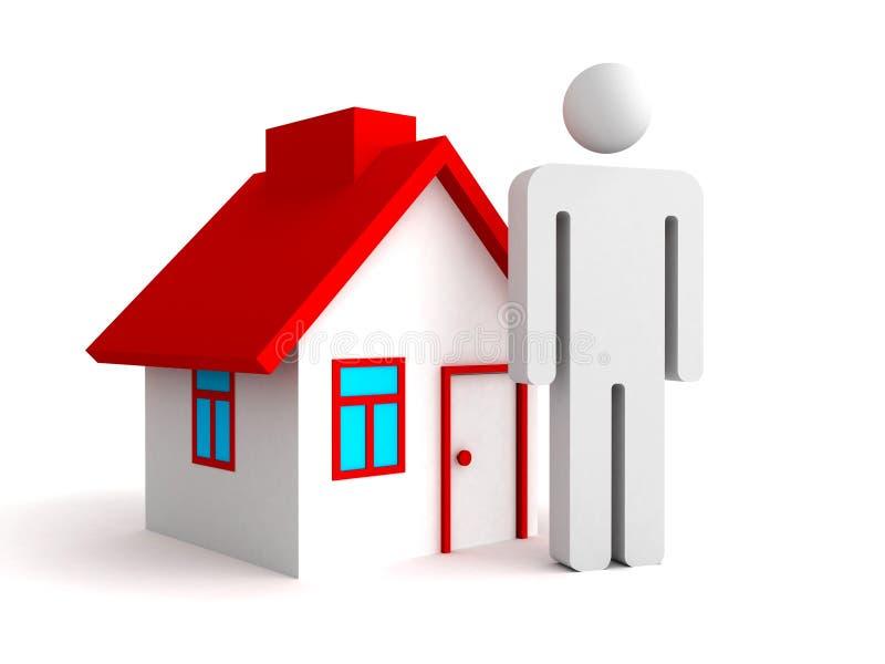 3d huis met het pictogram van de persoonsmens Concept 6 van onroerende goederen royalty-vrije illustratie
