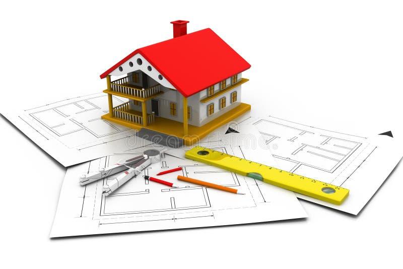 3d huis op planblauwdrukken stock illustratie