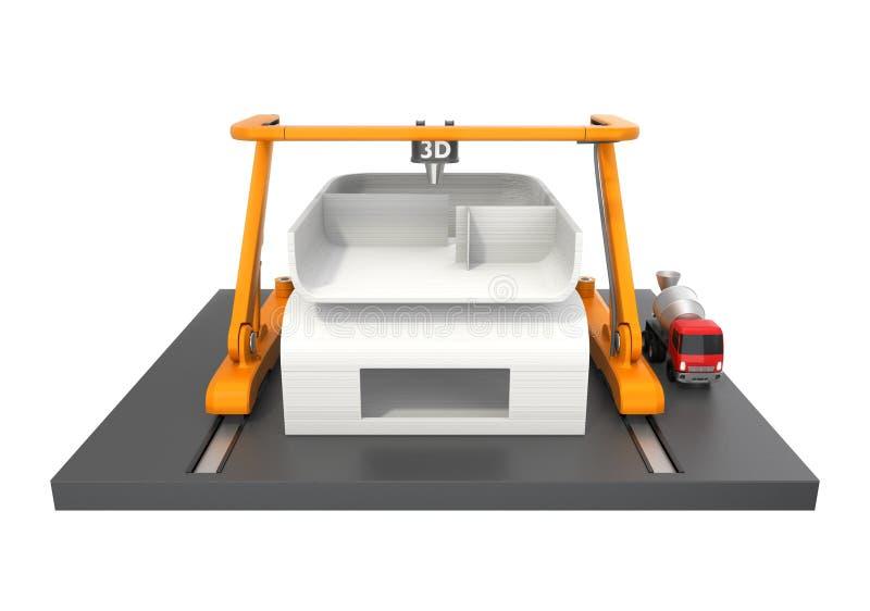3D huis van de printerdruk op witte achtergrond royalty-vrije illustratie