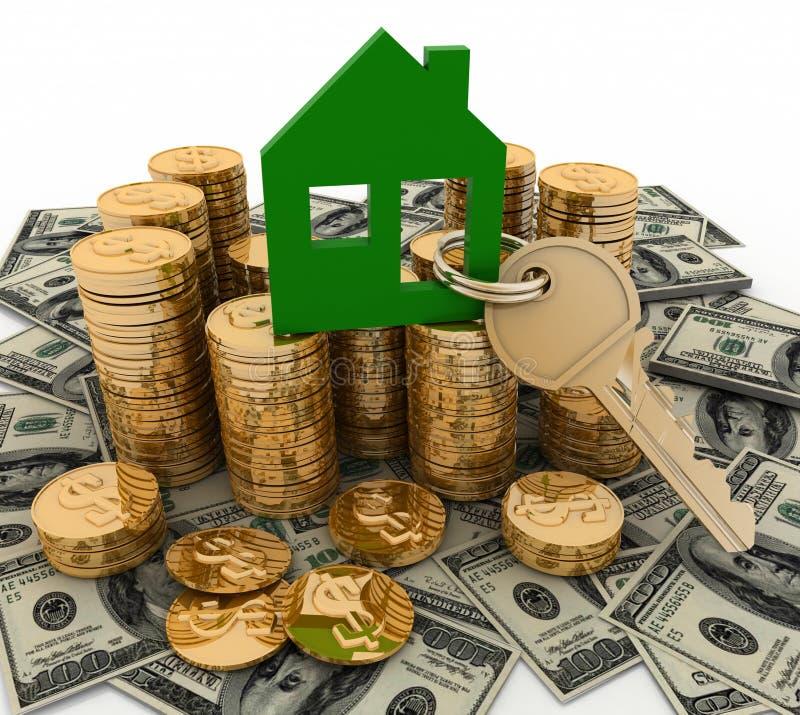 3d huissymbool met sleutel op Stapel van geld vector illustratie