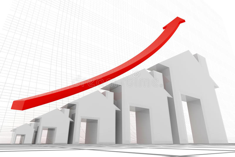 3d huizen met rood die grafiek groeien vector illustratie