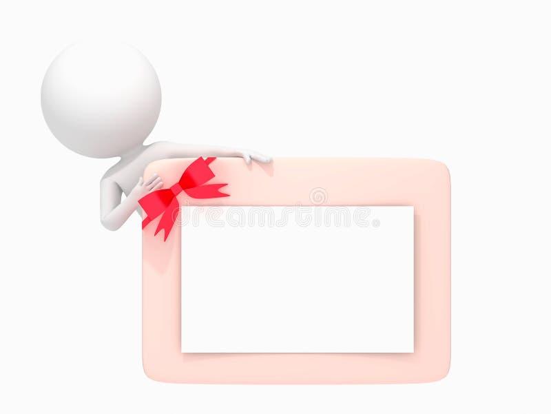 3D humain avec la carte vierge sur le ruban rouge illustration stock