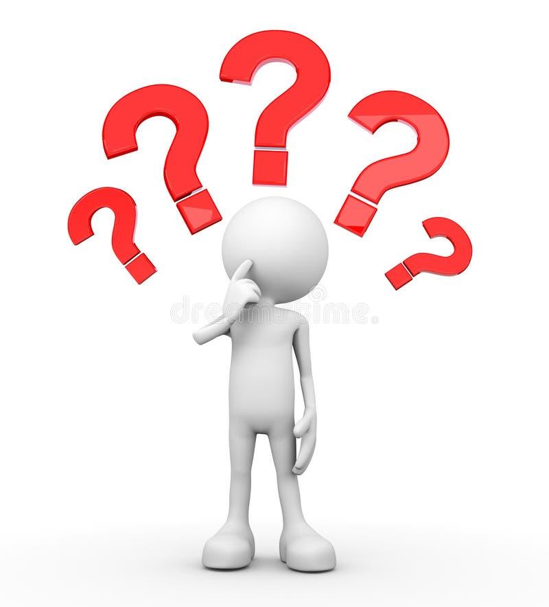 3d humain blanc - beaucoup de questions illustration stock