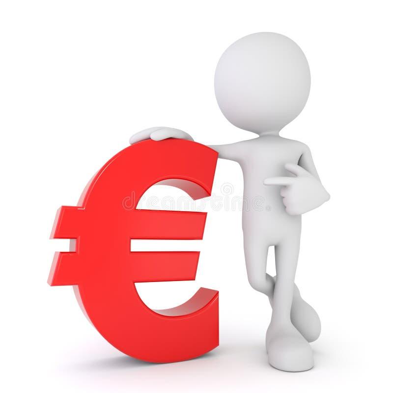 3d humain blanc - euro symbole rouge illustration de vecteur