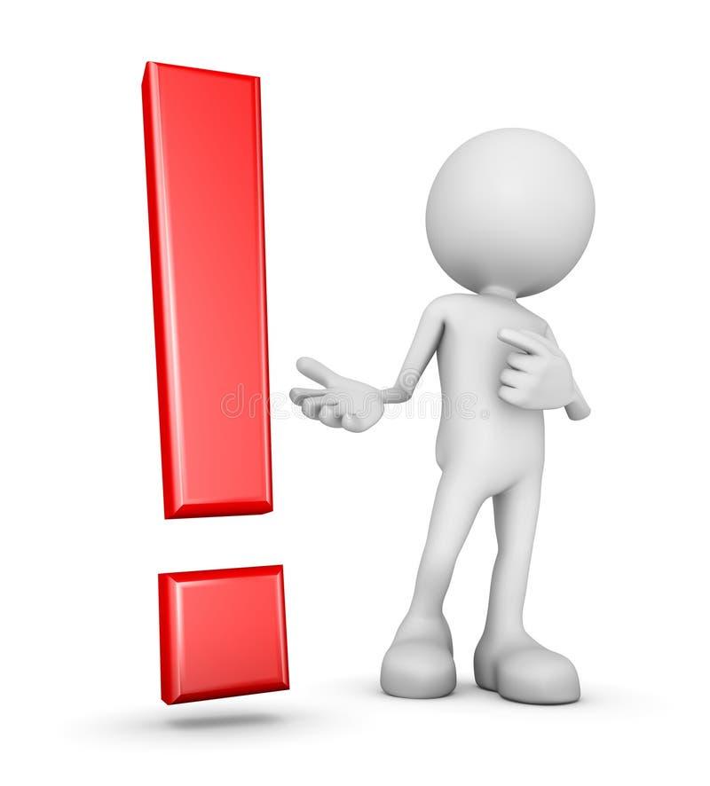3d humain blanc - marque d'exclamation rouge illustration de vecteur