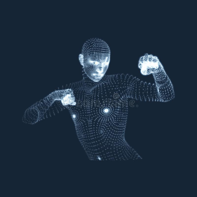 3D Human Body Model. Sport, Training and Martial Arts Concept. Design Element. Sport Symbol. Vector Graphics Composed of Particles vector illustration
