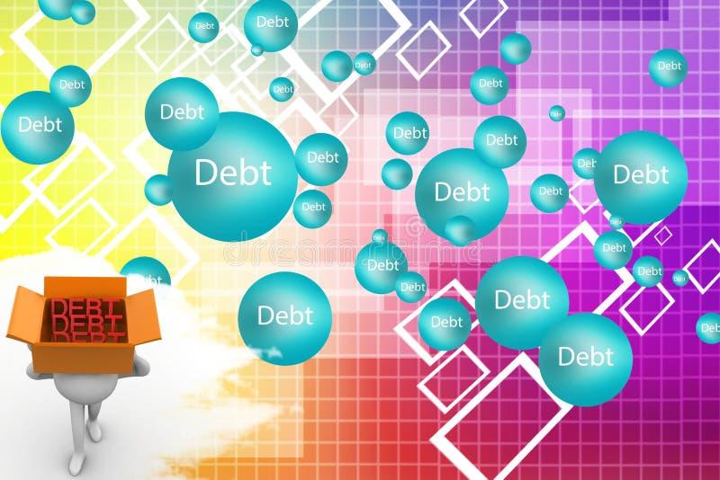 Download 3d Human Carrying Debt Inside Cardboard Box Illustration Stock Illustration - Image: 40133116