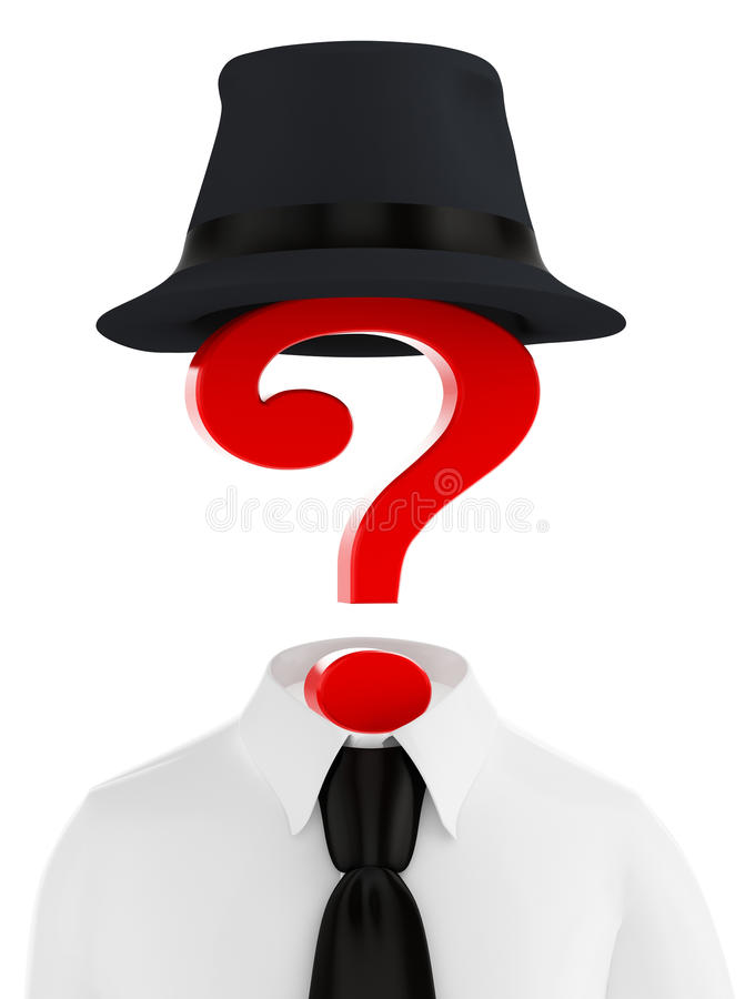 Download 3d Human Costume With Hat And Question Mark Stock Illustration - Image: 35018359