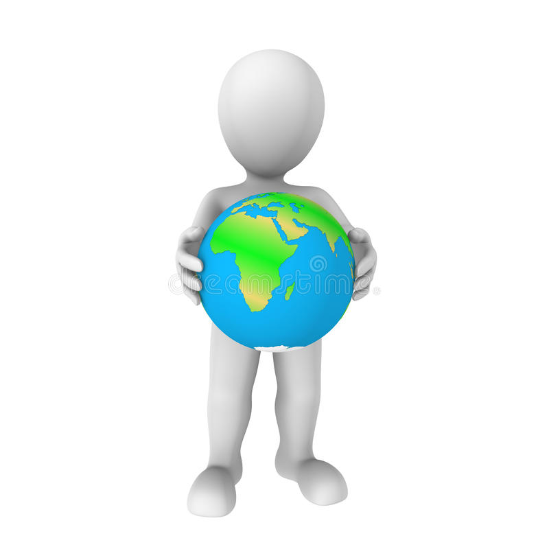 3d human with earth. Isolated on white background vector illustration