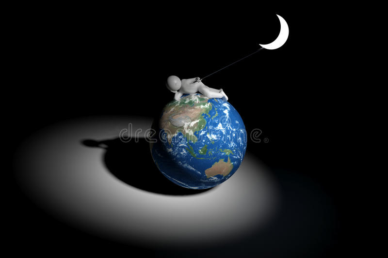 3d human holds the moon - Asia oceania edition stock illustration