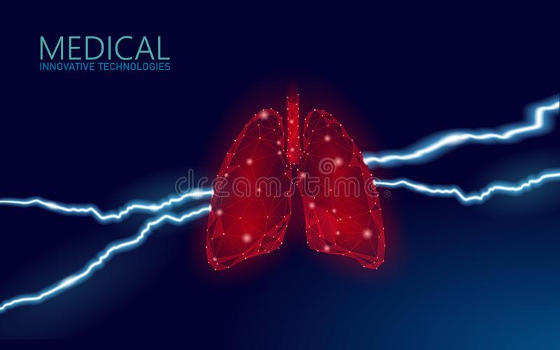 3D human lungs disease prevention medicine concept. Respiratory virus infection cancep danger. Painful ill medical stock illustration