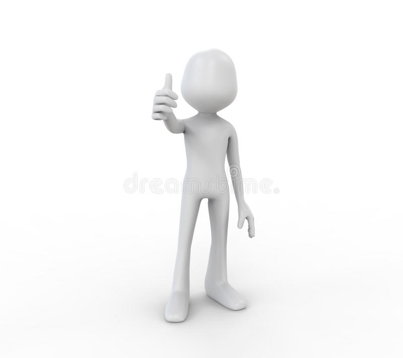 3D Human Showing with the Thumb Up. Isolated om white background vector illustration