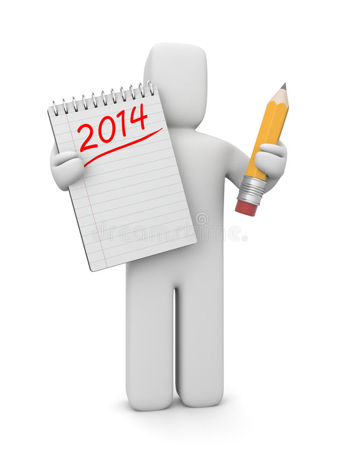 3d human with to-do list for the new year. Illustration for New Year and Christmas vector illustration