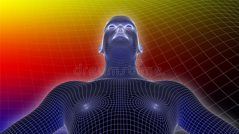3D Human Wireframe On Multicolor Background. 3D rendered image of human wireframe on multicolor background stock illustration